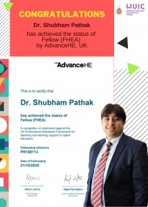 Congratulations to Dr. Shubham Pathak for achieving Fellow, UKPSF.