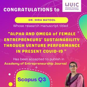 WUIC Congratulations to Dr. Hira Batool