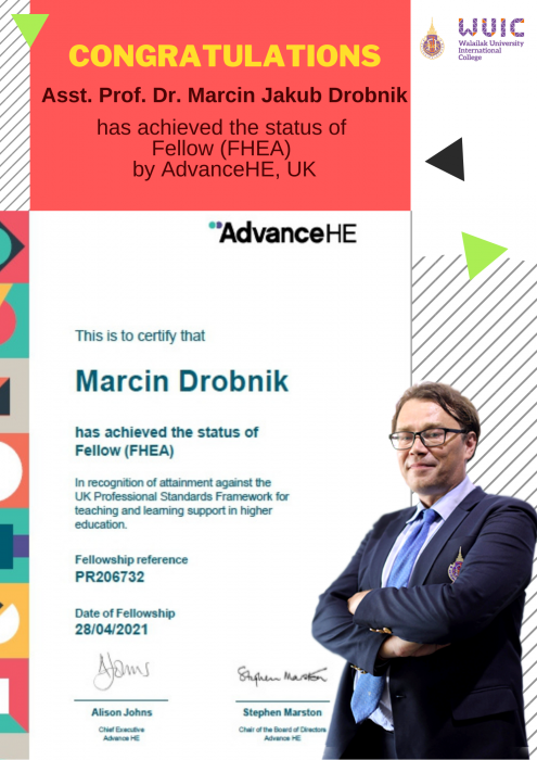 Congratulations to Asst. Prof. Dr. Marcin Jakub Drobnik for achieving Fellow, UKPSF.