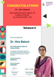 Congratulations to Dr. Hira Batool for achieving Fellow, UKPSF.