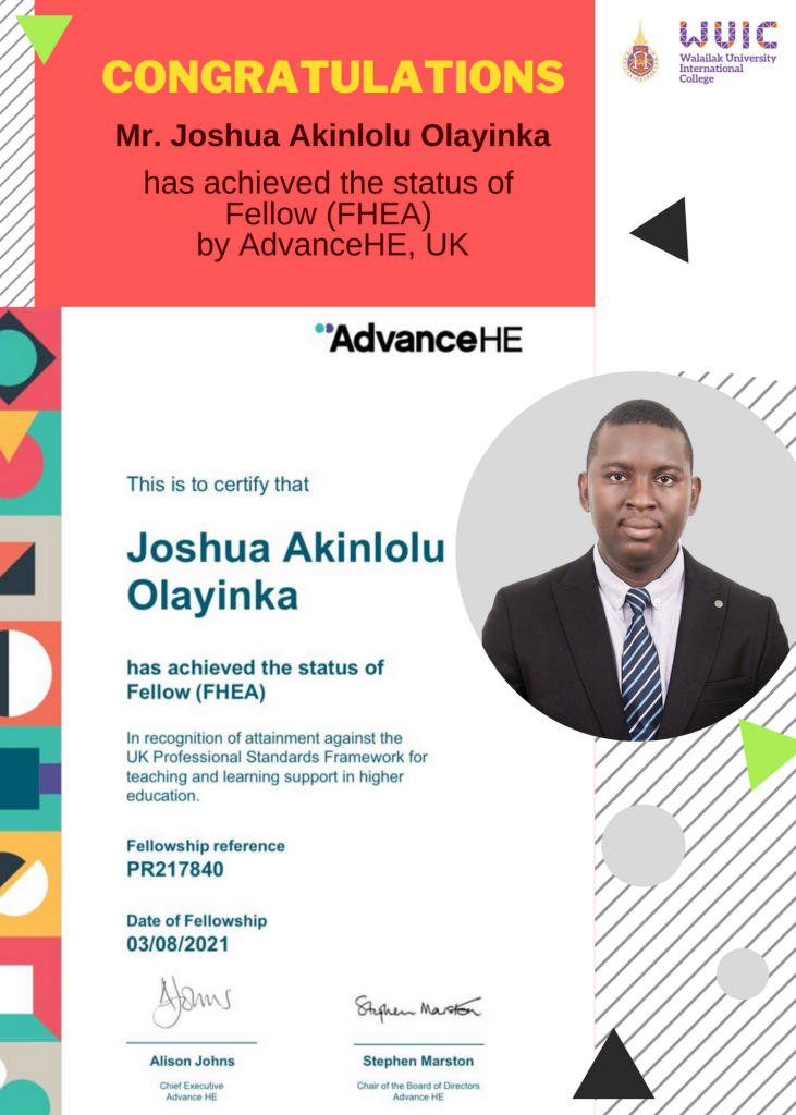 Congratulations Mr. Joshua Akinlolu Olayinka for achieving Fellow, UKPSF.